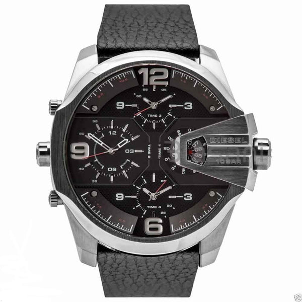 Mens / Gents Black Uber Chief Chronograph Leather Strap Diesel Designer Watch DZ7376