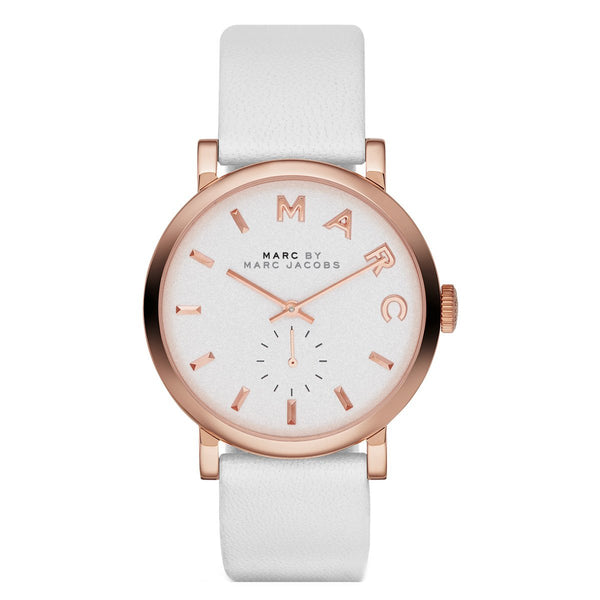 Ladies / Womens White Leather Strap Marc Jacobs Designer Watch MBM1283