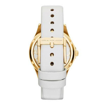 Ladies / Womens Gold & White Leather Strap Marc Jacobs Designer Watch MBM1339