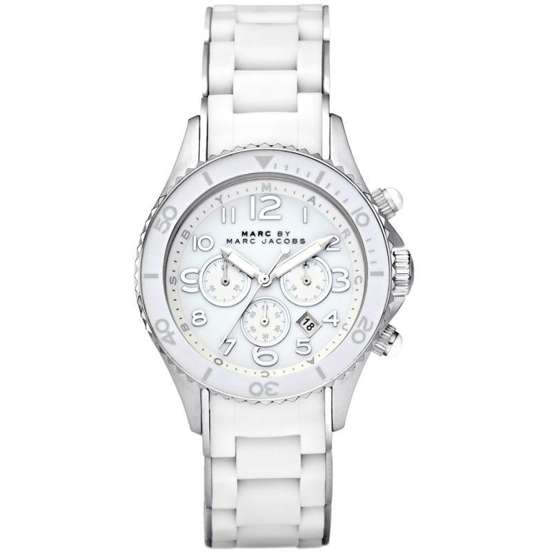 Ladies / Womens Rock White Stainless Steel Chronograph Marc Jacobs Designer Watch MBM2545