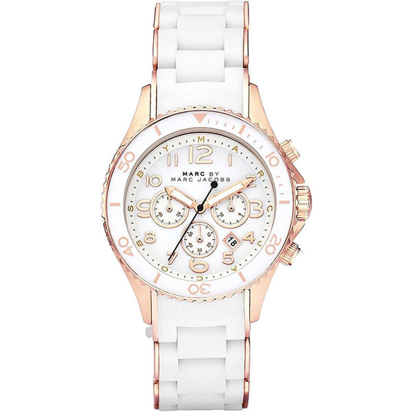 Ladies / Womens Rock Two-Tone Rose Gold Chronograph Marc Jacobs Designer Watch MBM2547