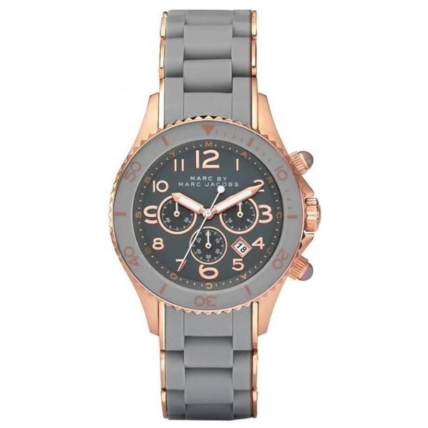 Ladies / Womens Rock Grey Stainless Steel Chronograph Marc Jacobs Designer Watch MBM2550
