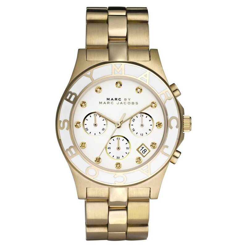 Ladies / Womens Blade Gold Stainless Steel Chronograph Marc Jacobs Designer Watch MBM3081
