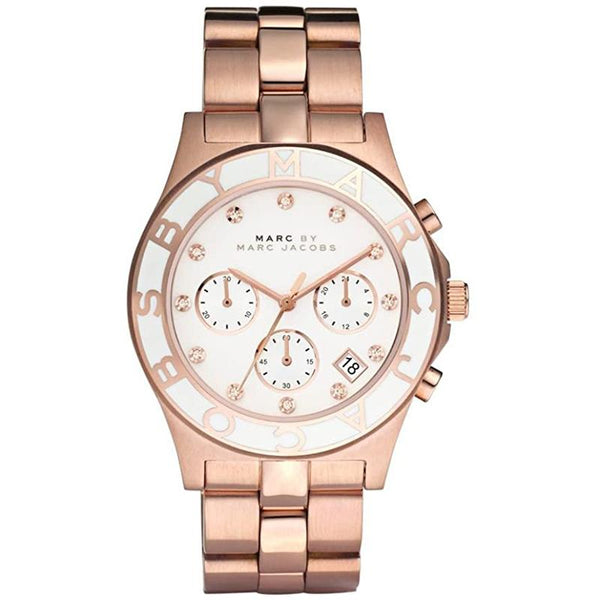 Ladies / Womens Blade Rose Gold Stainless Steel Chronograph Marc Jacobs Designer Watch MBM3082
