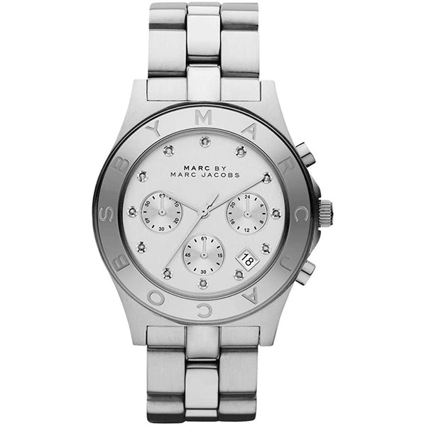 Ladies / Womens Blade Silver Stainless Steel White Dial Marc Jacobs Designer Watch MBM3100