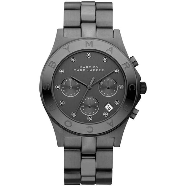 Ladies / Womens Blade Black Stainless Steel Chronograph Marc Jacobs Designer Watch MBM3103