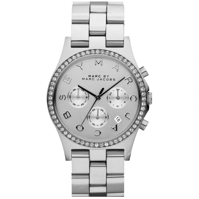 Ladies / Womens Henry Glitz Silver Stainless Steel Chronograph Marc Jacobs Designer Watch MBM3104