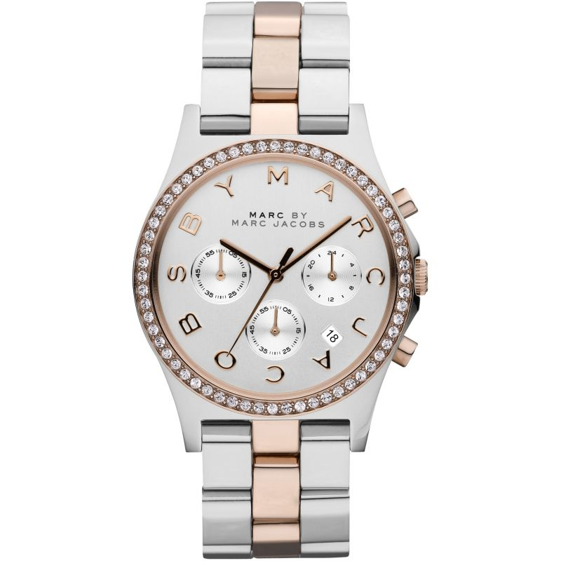 Ladies / Womens Henry Two-Tone Stainless Steel Chronograph Marc Jacobs Designer Watch MBM3106