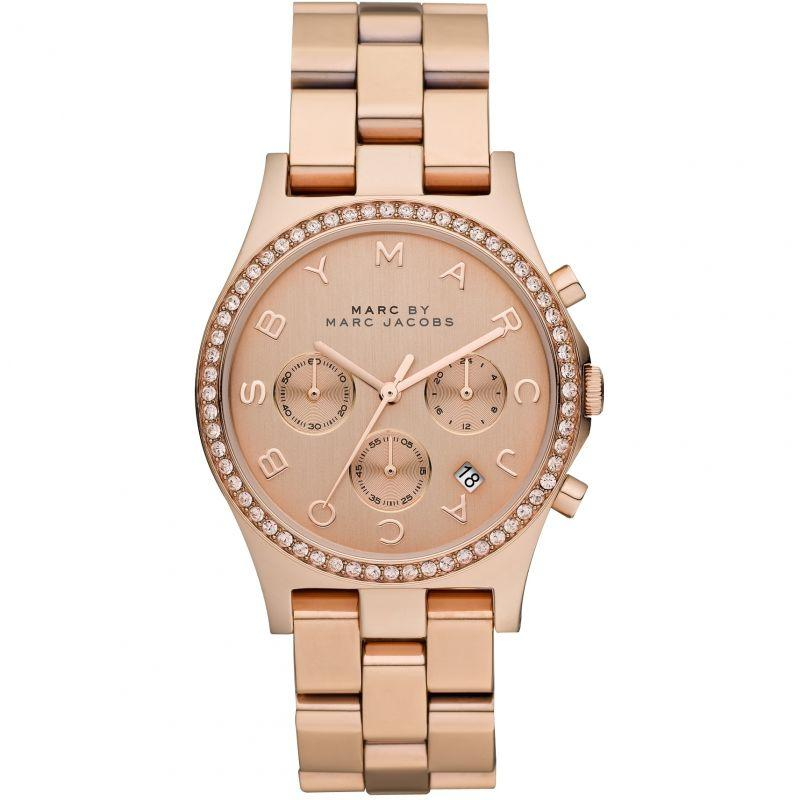 Ladies / Womens Henry Glitz Rose Gold Stainless Steel Chronograph Marc Jacobs Designer Watch MBM3118