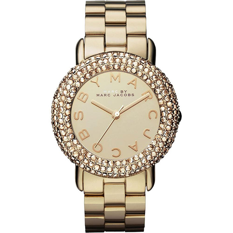 Ladies / Womens Marci Crystal Gold Stainless Steel Marc Jacobs Designer Watch MBM3191