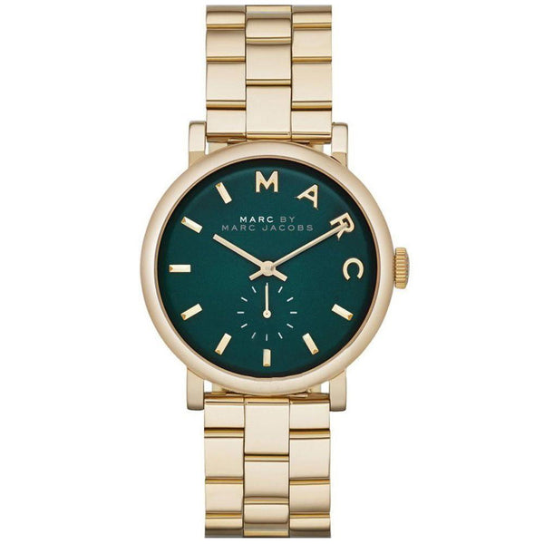 Ladies / Womens Baker Gold Green Dial Stainless Steel Marc Jacobs Designer Watch MBM3245