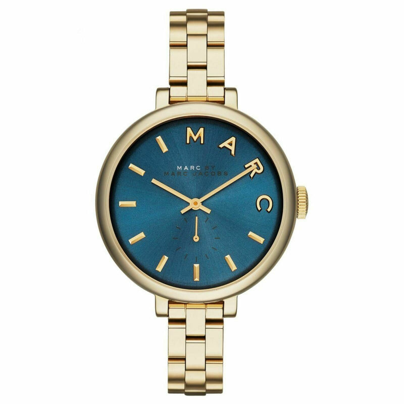 Ladies / Womens Sally Blue Dial Gold-Tone Marc Jacobs Designer Watch MBM3366