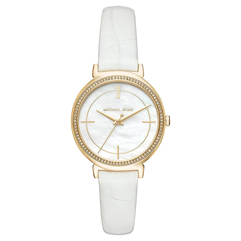 Ladies / Womens Cinthia Gold Leather Mother of Pearl Michael Kors Designer Watch MK2662