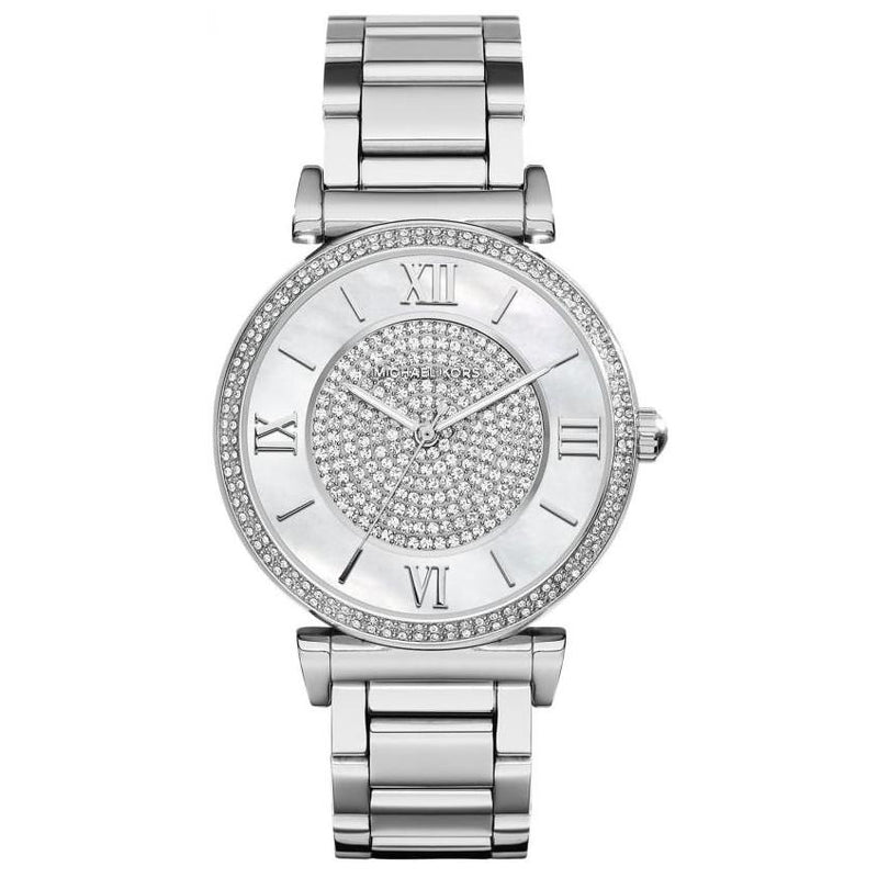 Ladies / Womens Catlin Bracelet Silver Stainless Steel Michael Kors Designer Watch MK3355