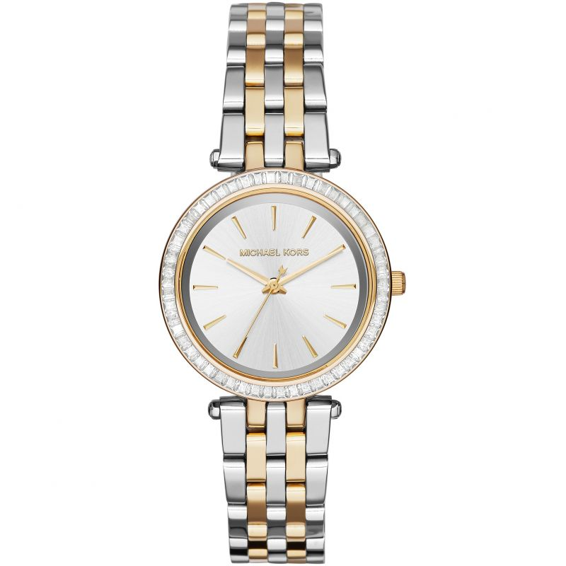Ladies / Womens Mini Darci Two Tone Silver & Gold Stainless Steel Michael Kors Designer Watch MK3405