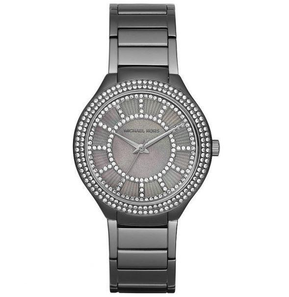 Ladies / Womens Kerry Crystal Gunmetal Grey Stainless Steel Michael Kors Designer Watch MK3410