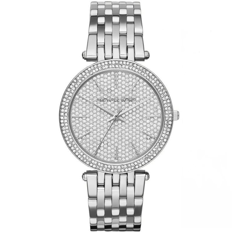 Ladies / Womens Darci Silver Diamonte Stainless Steel Michael Kors Designer Watch MK3437