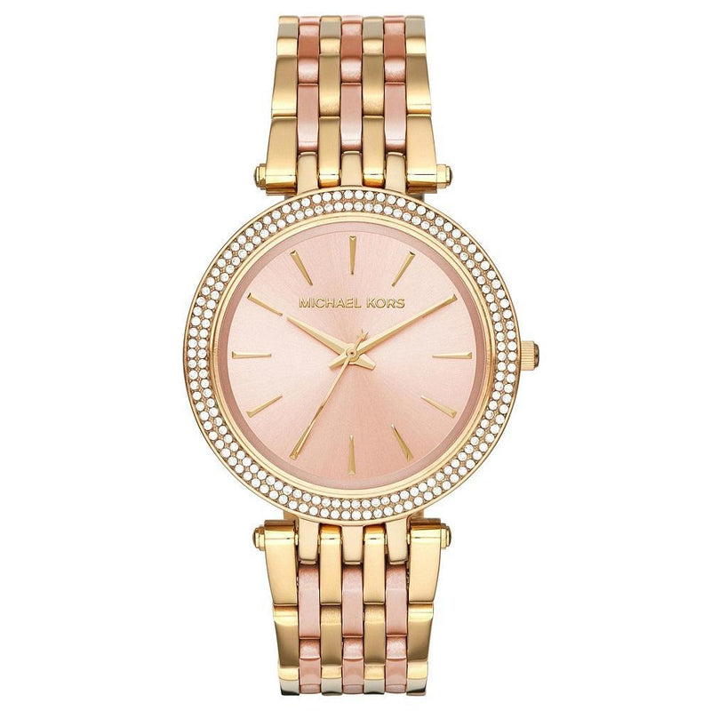 Ladies / Womens Darci Gold & Pink Stainless Steel Designer Michael Kors Designer Watch MK3507