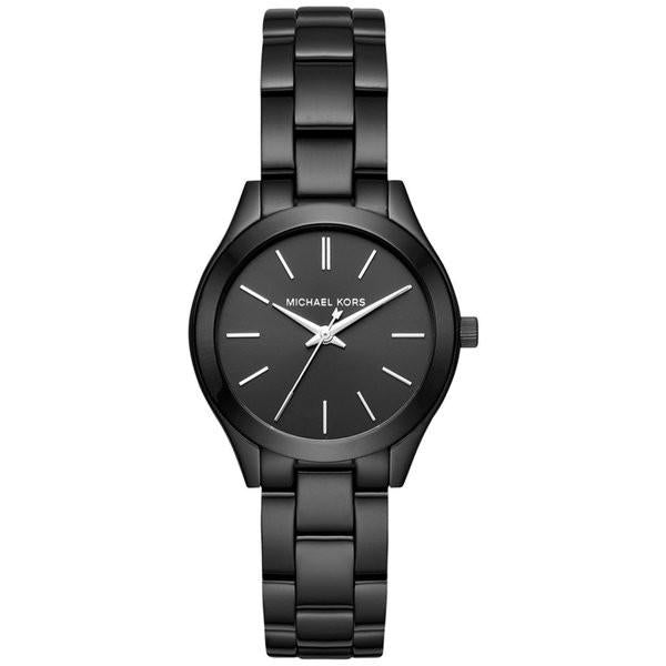 Ladies / Womens Slim Runway Black Stainless Steel Michael Kors Designer Watch MK3587