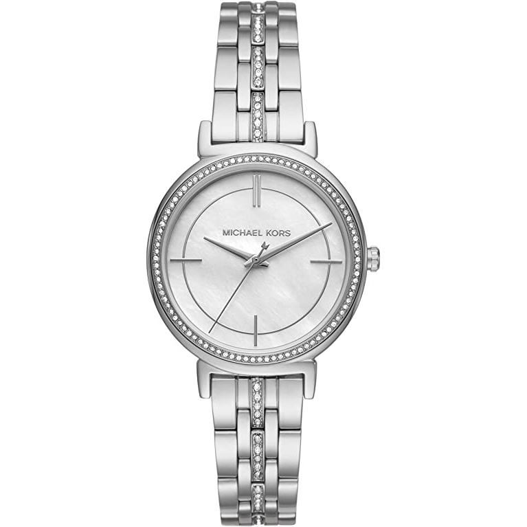 Ladies / Womens Cinthia Crystal Silver Stainless Steel Michael Kors Designer Watch MK3641