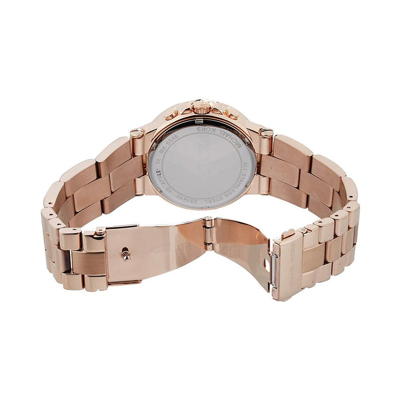 Ladies / Womens Mini Dylan Glitz Rose Gold Chronograph Michael Kors Designer Watch MK5586
