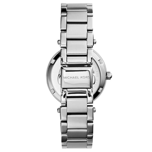 Ladies / Womens Mini Parker Silver Stainless Steel Chronograph Michael Kors Designer Watch MK5615