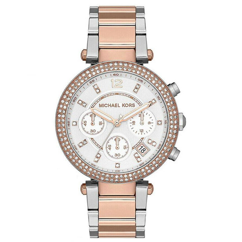 Ladies / Womens Parker Silver & Rose Gold Chronograph Micheal Kors Designer Watch MK5820