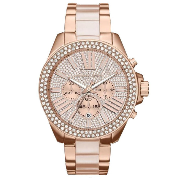Ladies Wren Crystal Dial and Rose Gold Tone Chronograph Michael Kors Watch MK6096