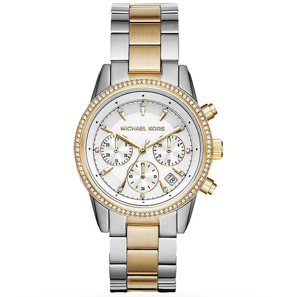 Ladies / Womens Ritz Silver & Gold Chronograph Stainless Steel Michael Kors Designer Watch MK6474