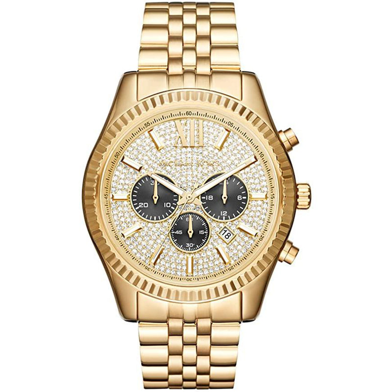 Mens / Gents Lexington Gold-Tone Stainless Steel Chronograph Michael Kors Designer Watch MK8494