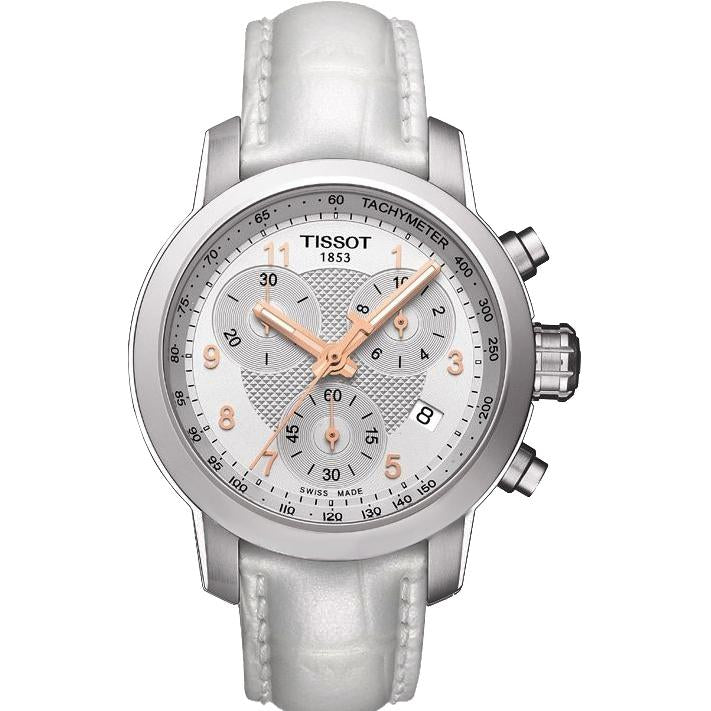 Ladies / Womens Designer White PRC Chronograph Tissot Designer Watch T055.217.16.032.01