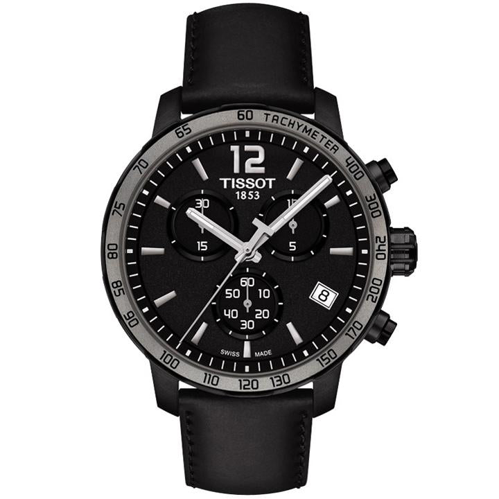 Mens / Gents Black Leather Quickster Chronograph Tissot Designer Watch T095.417.36.057.02