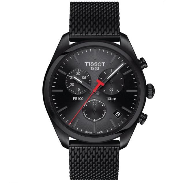 Mens / Gents Designer Black PR100 Chronograph Tissot Designer Watch T101.417.33.051.00