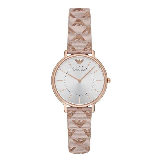 Ladies / Womens Classic White Branded Leather Strap Emporio Armani Designer Watch AR11008