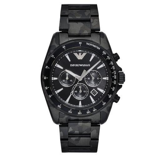 Mens / Gents Sport Camo Black Stainless Steel Chronograph Emporio Armani Designer Watch AR11027