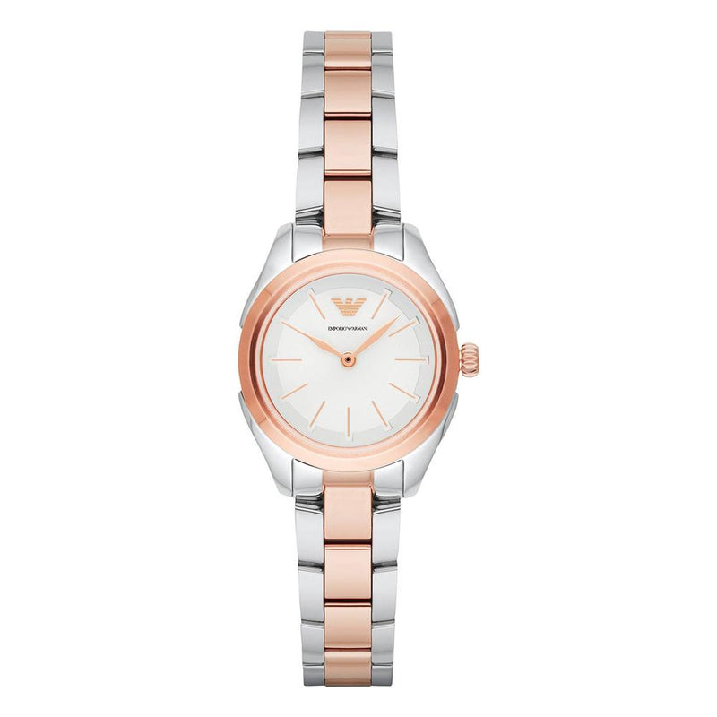 Ladies / Womens Rose Gold Two Tone Stainless Steel Emporio Armani Designer Watch AR11029