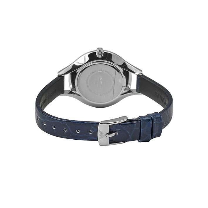 Ladies / Womens Aurora Blue Leather Strap Emporio Armani Designer Watch AR11090