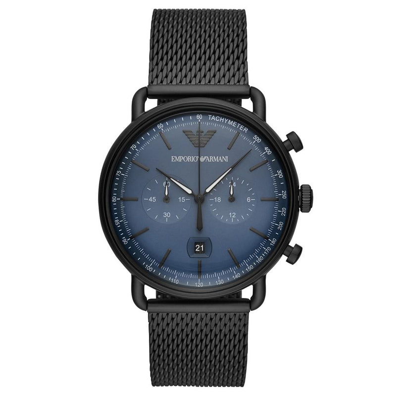 Mens / Gents Aviator Blue Dial Black Mesh Emporio Armani Designer Watch AR11201