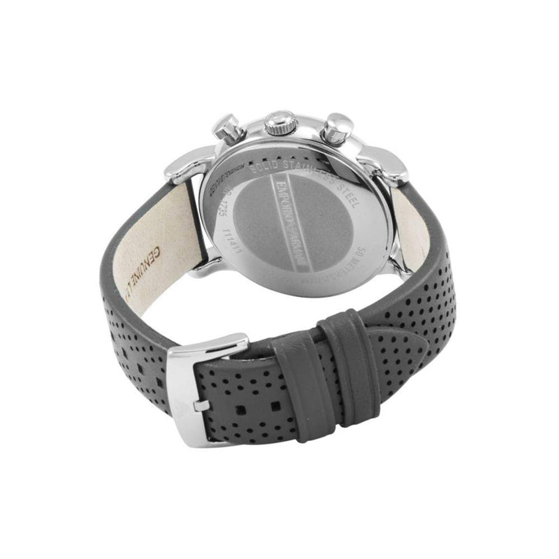 Mens / Gents Stainless Steel Black Leather  Emporio Armani Designer Watch AR1735