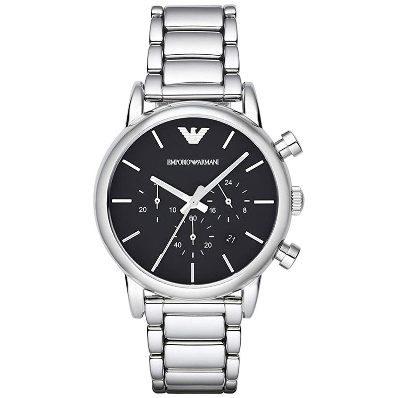 Mens / Gents Silver Stainless Steel Chronograph Emporio Armani Designer Watch AR1853