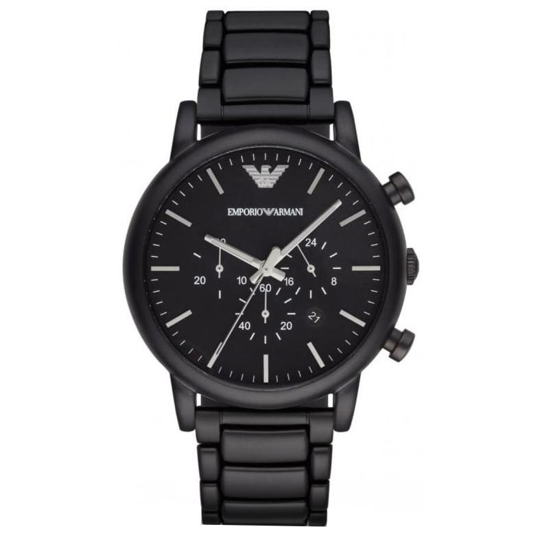 Mens / Gents Black Stainless Steel Chronograph Emporio Armani Designer Watch AR1895