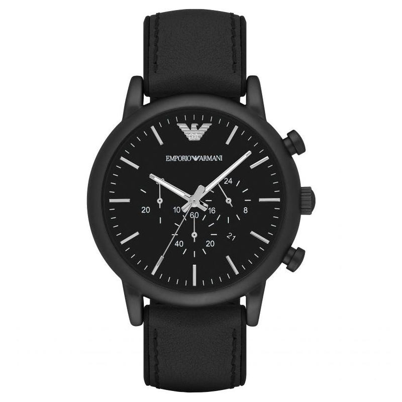 Mens / Gents Luigi Black Leather Chronograph Emporio Armani Designer Watch AR1970