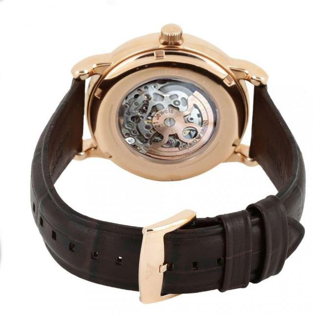 Mens / Gents Brown Leather & Rose Gold Emporio Armani Designer Watch AR1983