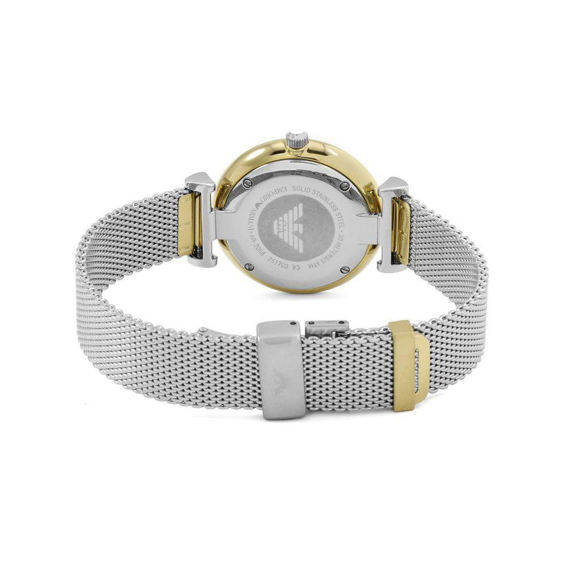 Ladies / Womens Silver Mesh Mother of Pearl Emporio Armani Designer Watch AR2068