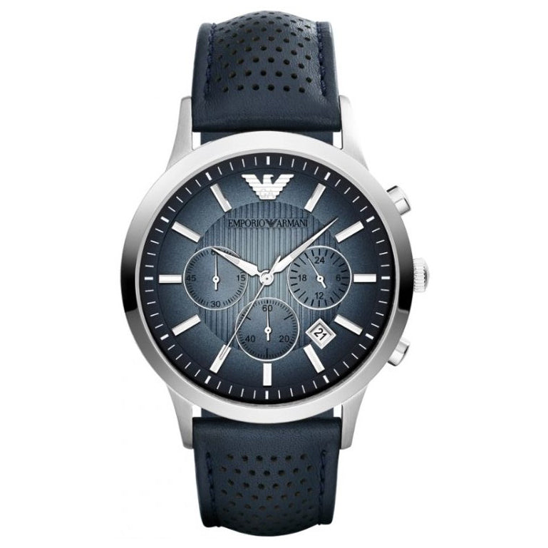 Mens / Gents Renato Blue Leather Chronograph Emporio Armani Designer Watch AR2473
