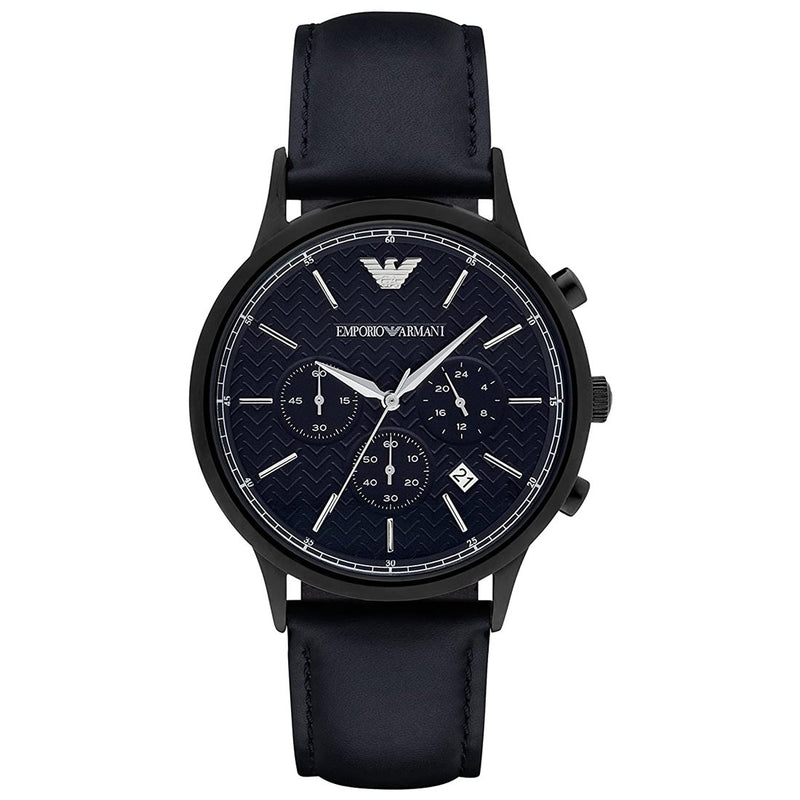 Mens / Gents Black Stainless Steel Chronograph Emporio Armani Designer Watch AR2481