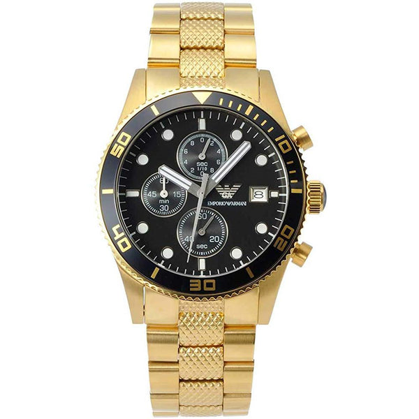 Mens PVD Gold Stainless Steel Chronograph Emporio Armani Watch AR5857