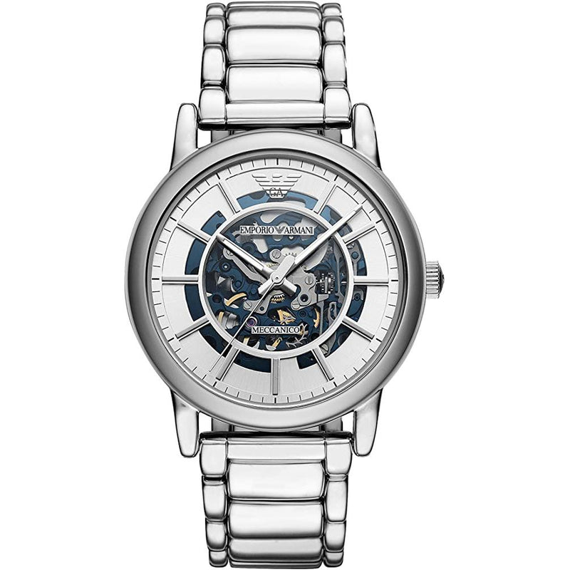 Mens / Gents Meccanico Silver Stainless Steel Emporio Armani Designer Watch AR60006
