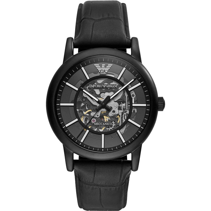 Mens / Gents Black Leather Strap Emporio Armani Designer Watch AR60008