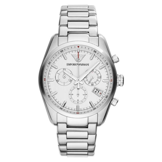 Mens / Gents Sportivo Silver Stainless Steel Chronograph Emporio Armani Designer Watch AR6013